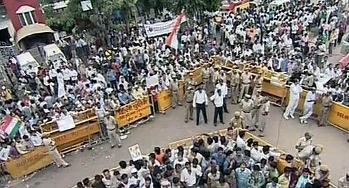 Protestors gather outside Tihar Jail