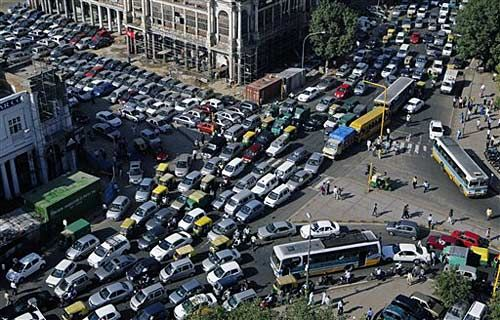 Traffic jam at a road in Delhi
