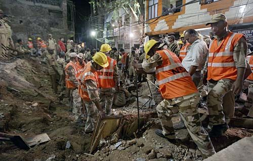 Rescue work underway at the building collapse site