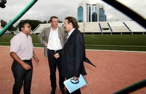 Director of FIFA Thiery Regenass, Technical Director Jean Michael and General Secretary Kushal Das