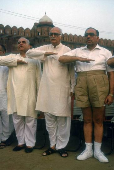 LK Advani with Madanlal Khurana at RSS function