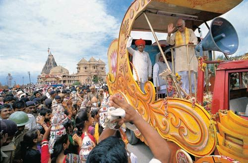 L.K Advani during his 1990 rath yatra