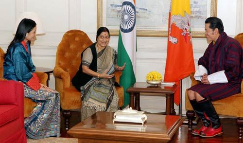 Bhutan King Jigme Khesar Namgyel Wangchuck and his wife Jetsun Pema with Sushma Swaraj.