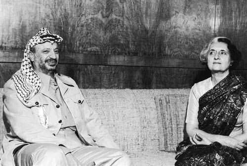 Indira Gandhi and Yasser Arafat