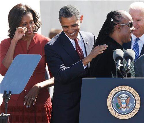 Barack Obama, Michelle Obama, Joe Biden and Stevie Wonder