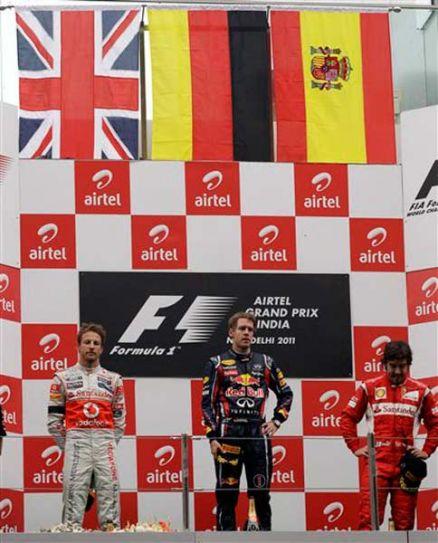 Sebastian Vettel, Jenson Button and Fernando Alonso