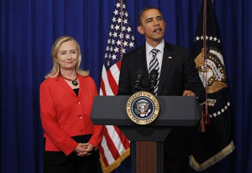 Barack Obama with Hillary Clinton