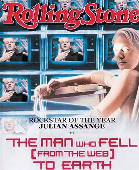 Julian Assange on the cover of Rolling Stones magazine