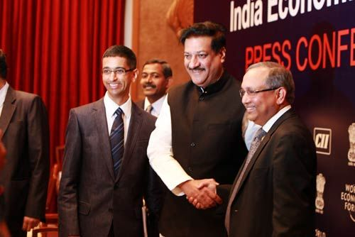 Prithviraj Chavan with Chandrajit Banerjee and Sushant Palakurthi Rao.