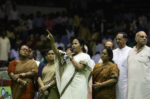 Mamata Banerjee with other Trinamool leaders