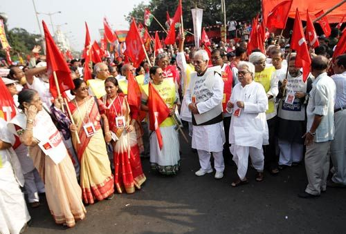Biman Bose with CPI(M) activists