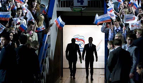 Vladimir Putin and Dmitry Medvedev.