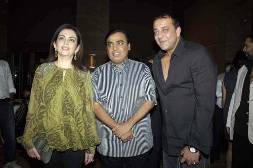 Nita and Mukesh Ambani with Sanjay Dutt
