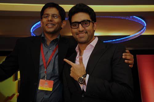 Akash Banerjee with Abhishek Bachchan