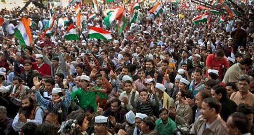 Anna Hazare supporters at Jantar Mantar, New Delhi