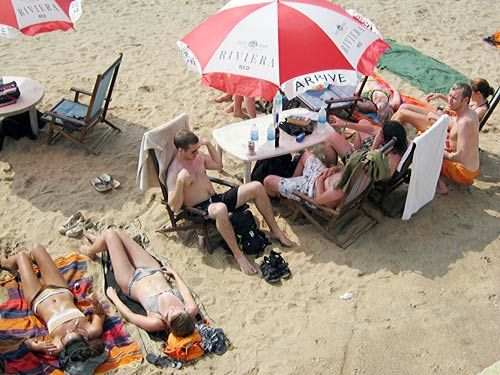 Foreign tourists relax at Goa beach