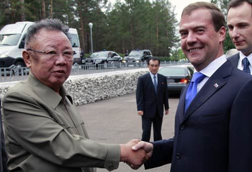Russian President Dmitry Medvedev with Kim Jong Il in Byryatia