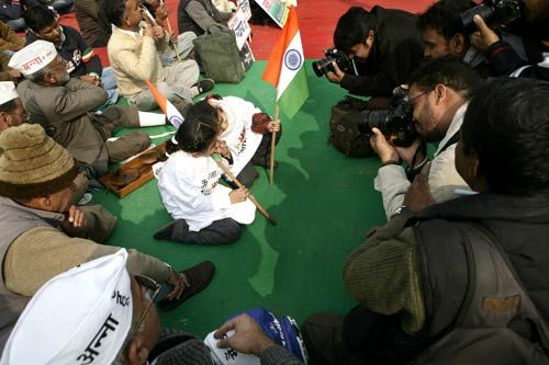 Anna's supporters at Ramlila Maidan in New Delhi