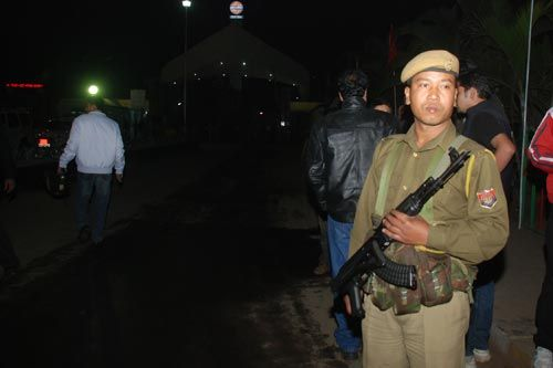 Policemen at the oil refinery in Assam