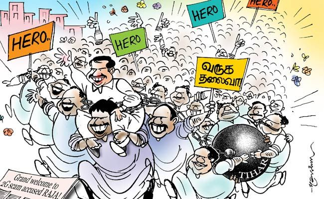 A Raja arrives in Chennai to a hero's welcome