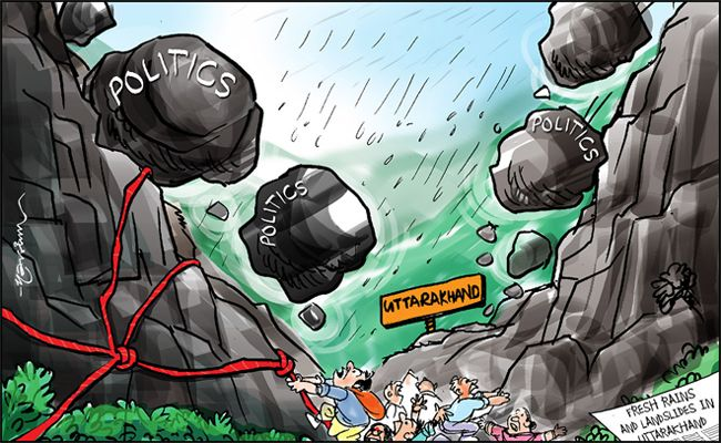 India Todat cartoonist Narim's take on the Uttarakhand floods