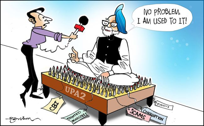 India Today cartoonist narsim's take on Manmohan's uneviable position in Indian politics