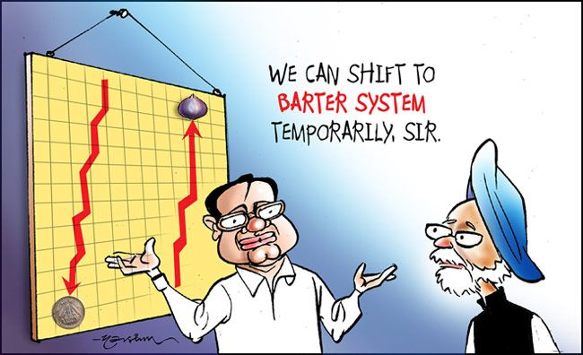 India Today cartoonist Narsim's take on soaring onion prices, falling rupee