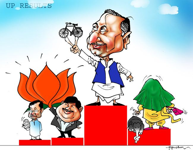 India Today cartoonist Narsim's take on the Uttar Pradesh poll results.