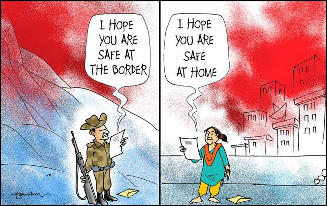 Indian jawan and his wife wish each other to be safe.