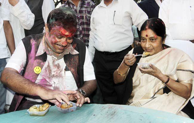 Nitin Gadkari with Sushma Swaraj