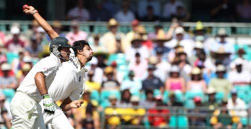Ricky Ponting and Ishant Sharma