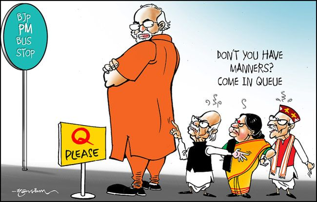 India Today cartoonist Narsim's take on BJP's PMs-in-waiting