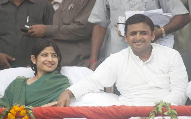 Akhilesh Yadav with wife Dimple Yadav