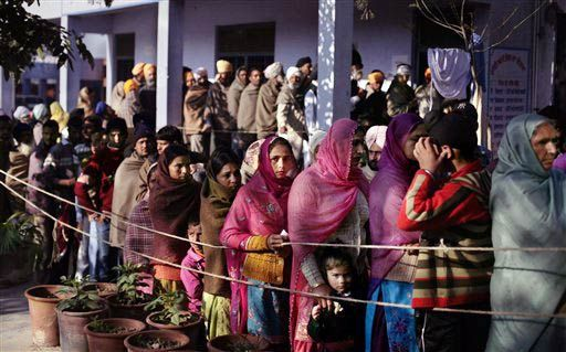 Voters outside polling booth in Punjab