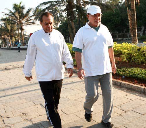 Salim Khan with a friend in Mumbai