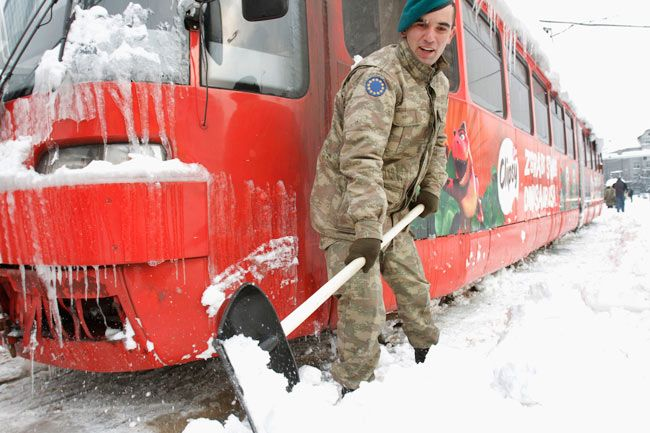 Tram frozen due to snow