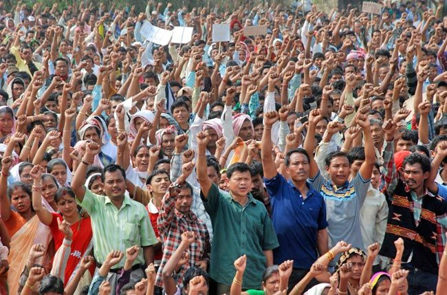 Anti-dam protest in Lakhimpur