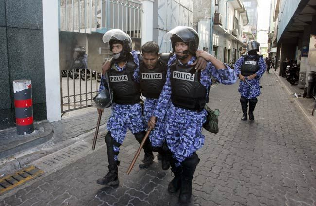 Maldivian police officers