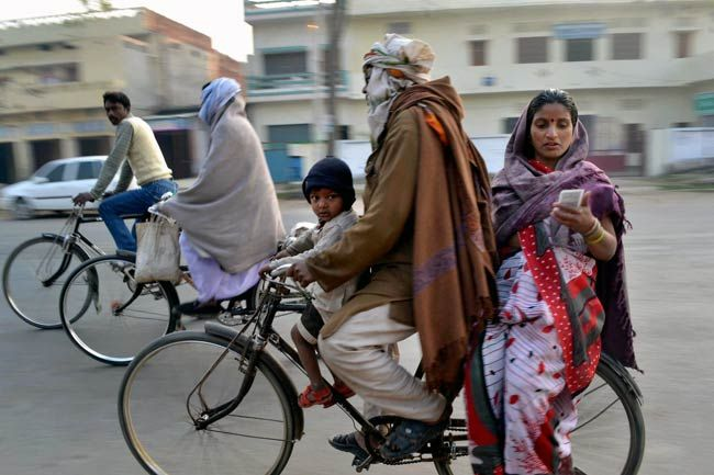 Voters on the way to a polling station