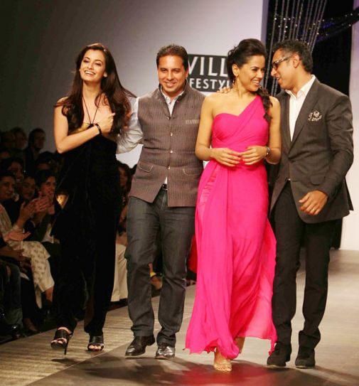 Dia Mirza and Sameera Reddy on Day 1 of WIFW