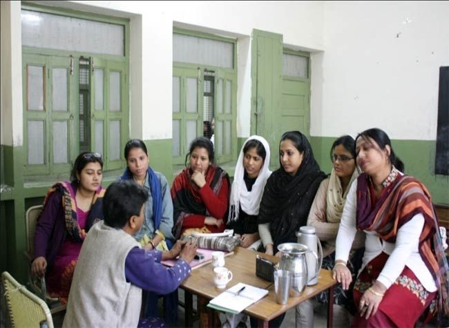 Muniza Khan (first from left) with other teachers