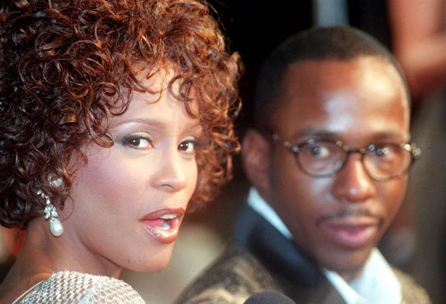 Whitney Houston with husband Bobby Brown