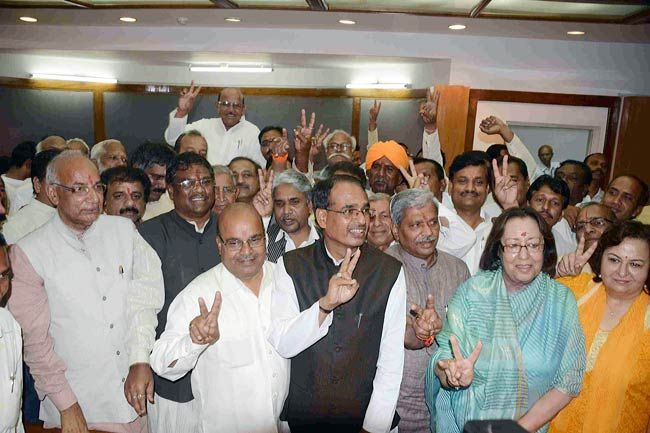 Four BJP candidates, Najma Heptulla, Kaptan Singh Solanki, Faggan Singh Kulaste and Thavarchand Gehlot filed nomination for Rajya Sabha polls.