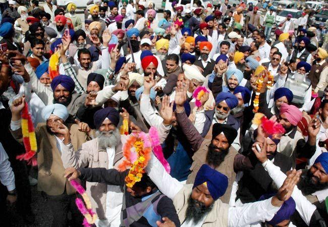 Shiromani Akali Dal supporters celebrate