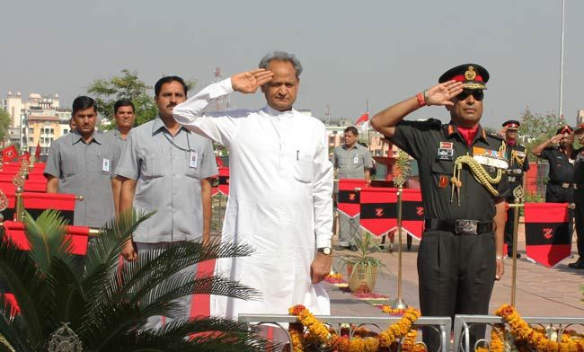 Rajasthan Chief Minister Ashok Gehlot with Lt. General Gyan Bhushan