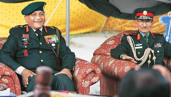 Army Chief General V.K. Singh with his Nepalese counterpart Chhatra Man Singh Gurung