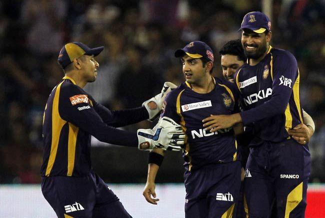 Gautam Gambhir celebrates with his team-mates