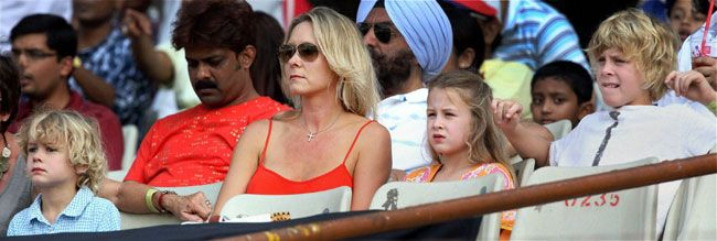 Adam Gilchrist's wife and his three children