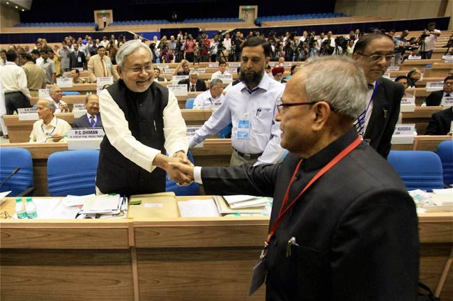 Nitish Kumar (left) and Pranab Mukherjee