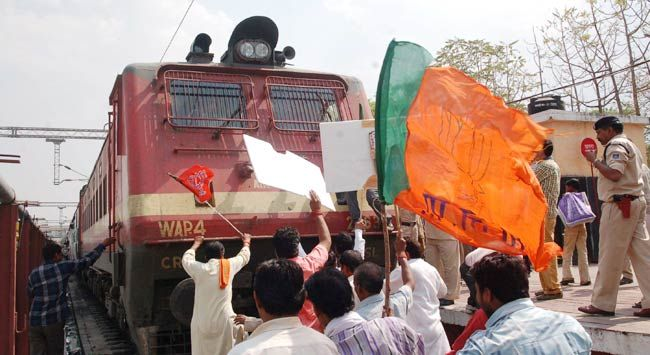 'Rail Roko' agitation by BJP Kisan Morcha